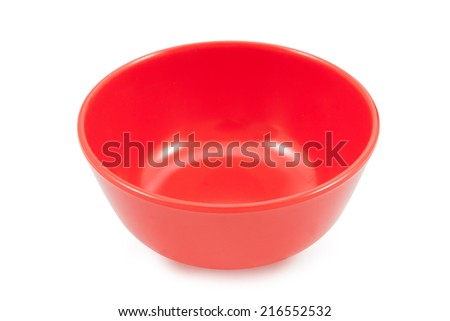 red bowl isolated on white background, file includes a excellent clipping path - stock photo