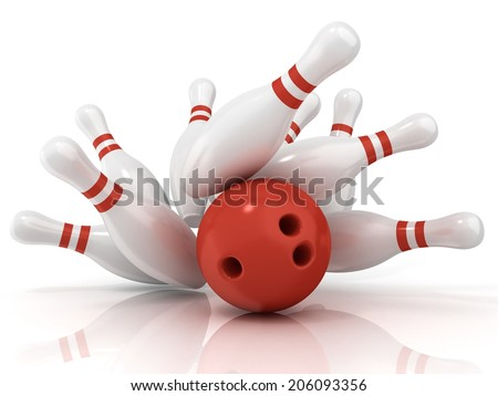 Red bowling ball and scattered pin, isolated on white background - stock photo