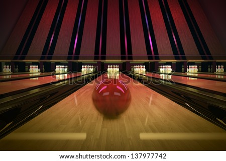 Red bowling ball is rolling on wooden lane. Ten pins are waiting for the shot. - stock photo
