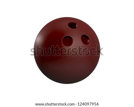 Red bowling ball, isolated on white background. - stock photo