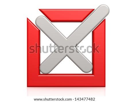 Red box gray cross - stock photo