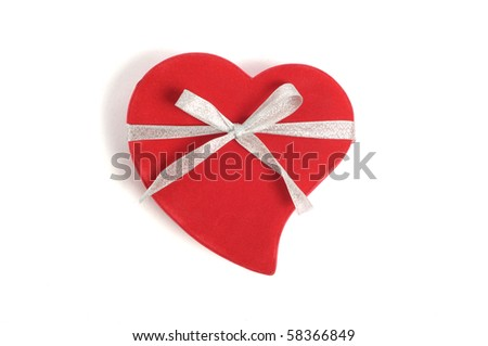 red box in heart shape with ribbon  on white - stock photo
