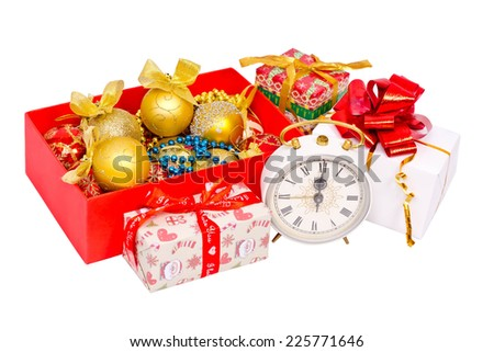 Red box with decorations for the Christmas tree, gifts and service isolated on white background  - stock photo