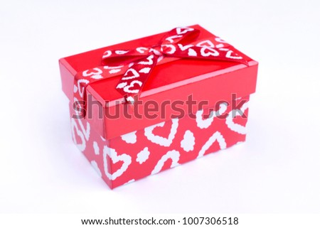 Red Box Painted Hearts Red Box Stock Photo Royalty Free 1007306518