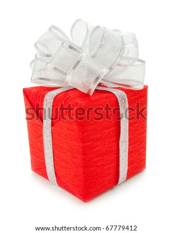 Red box with silver ribbon on white background - stock photo