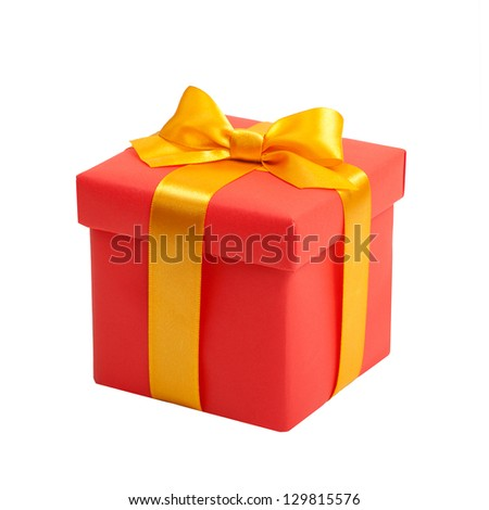 red box with yellow bow as a gift - stock photo