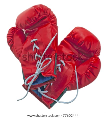 Red boxe gloves isolated over white background - stock photo