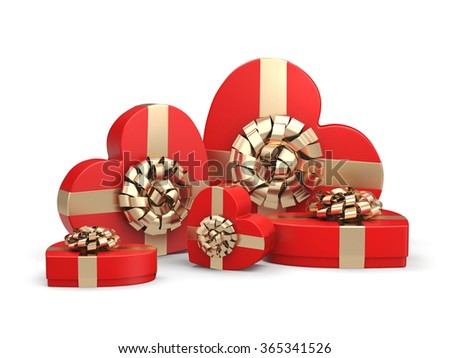 Red boxes with heart shaped gold ribbon