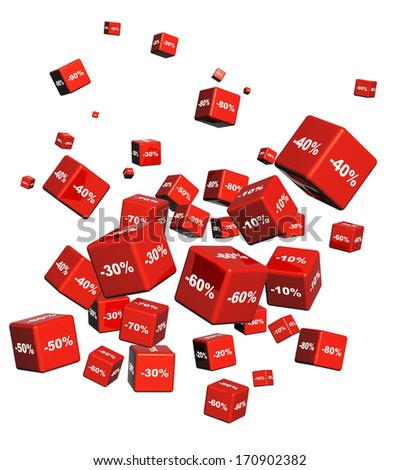 Red boxes with the goods at a discount. Objects isolated on white background - stock photo