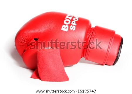 Red boxing glove and bandage isolated on white background - stock photo