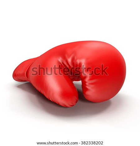 Red boxing glove isolated on white background