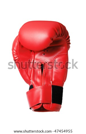 Red boxing-glove on the white background. (isolated) - stock photo