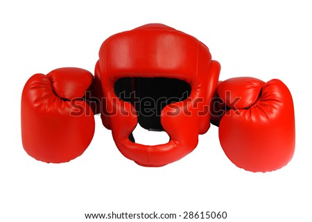 Red boxing-gloves and boxer helmet on a white background