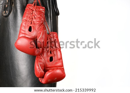 Red Boxing gloves and punching bag - stock photo