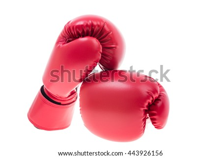 Red boxing gloves isolate on over white background