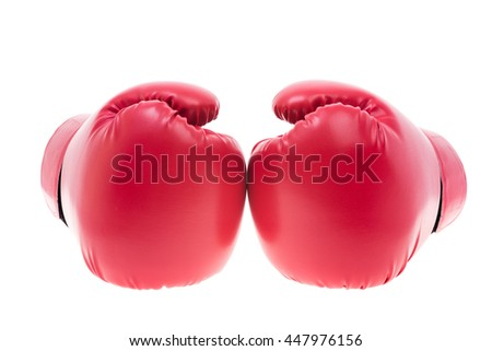 Red boxing gloves isolate on over white background - stock photo