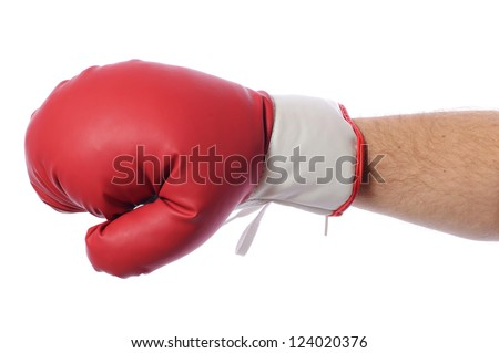 Red boxing gloves on hands on white background