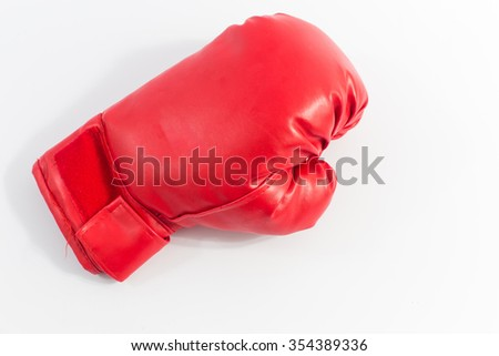Red boxing gloves, white background