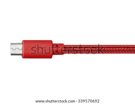 Red braided wire miniusb cable isolated on white - stock photo