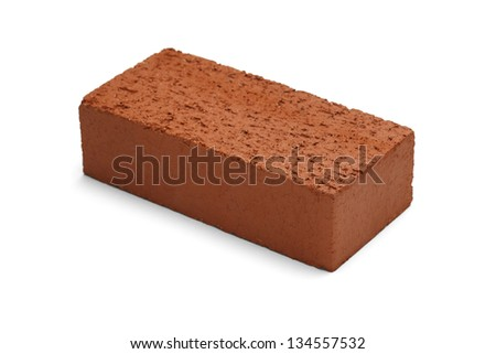 Red brick isolated on a white background. - stock photo