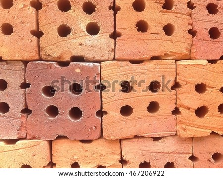 Red brick material with hole background and textured, Close up.