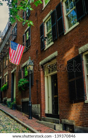 Red-brick Row Houses in Boston - stock photo