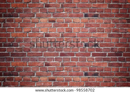 Red brick wall. - stock photo