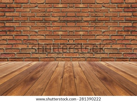 red brick wall and wood floor texture interior - vintage style - stock photo