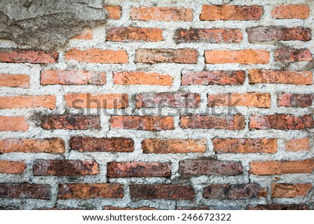 Red brick wall background and texture : closeup of an old brick wall. - stock photo