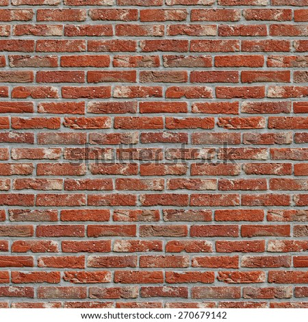red brick wall high resolution seamless texture - stock photo