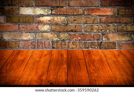 Red brick wall texture. Background. View from dark wooden gangway, table or bridge. Collage. Toned. - stock photo