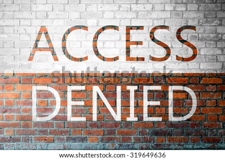 Red Brick wall texture background with a word Access Denied