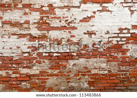 red brick with plaster background texture - stock photo