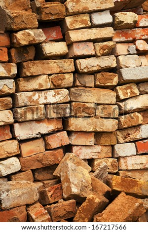 red bricks  - stock photo