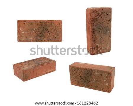 Red bricks isolated against a white background