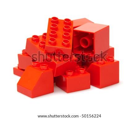 red bricks isolated on white - stock photo