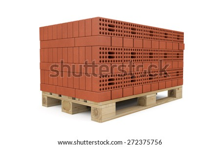 Red bricks stacked on wooden pallet isolated on white with clipping path - stock photo