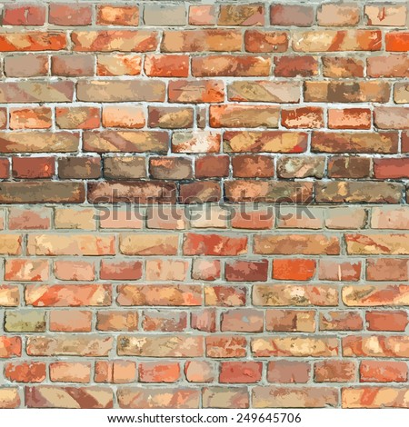 Red Brickwall Seamless Background for your design. - stock photo