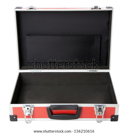 Red briefcase on white background - stock photo