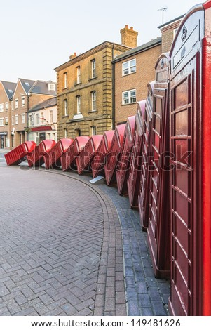 Red British Typical Telephone Boxes. UK - stock photo