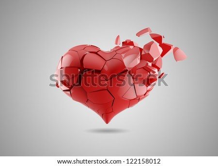 red broken heart isolated on white - stock photo