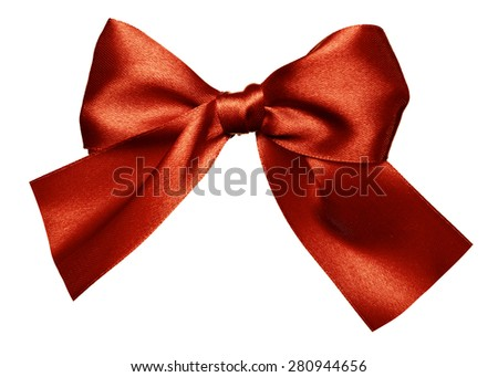 red brown bow made from silk isolated - stock photo