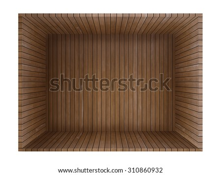 Red brown plank wood box - stock photo