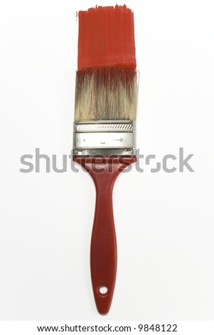 red brush painting a red line isolated