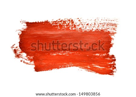Red brush stroke on the white background