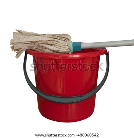 Red bucket with cleaning mop isolated on a white background. Clipping path included.