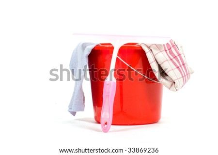 red bucket with windows cleaning tools  isolated on white