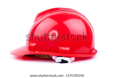 red  builder hardhat isolated on white