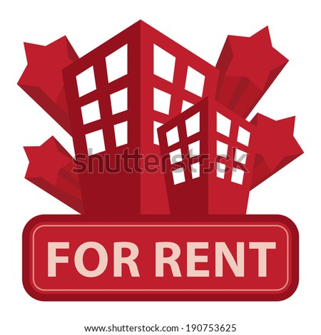 Red Building, Apartment or Office For Rent Icon or Label Isolated on White Background