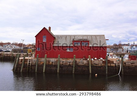 red building in rockport - stock photo
